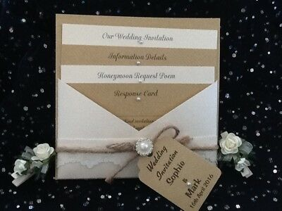 Vintage, Rustic,shabby Chic,ivory Lace, Pearl, Brown Craft Wedding Invitation • 3£