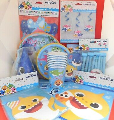 $44.99 • Buy Baby Shark Party Pack 93 PIECE SET Complete Birthday Party Package NEW!!