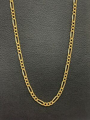 AU210 • Buy 9ct 9k Yellow Gold Italian (3x1) Figaro Link Necklace Chain 2.6 Grams 42cm. New