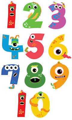 Monster Number Wall Stickers - 5 Sizes Available • 5.99£