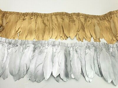 £6.99 • Buy GOLD/SILVER Goose Duck Swan Hackle Feather Fringe Brooch Material