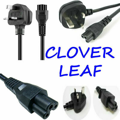 £3.98 • Buy C5 Cloverleaf 3 Pin Mains Cable Clover Leaf Power Lead Power Cord For Uk