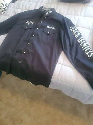 $23 • Buy Wrangler Jack Daniels Embroidered Buttom Up Shirt Long Sleeve Black Size XL