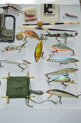 $ CDN13.03 • Buy Lot Of Vintage Fishing Items- Lures- Rapala Scale Quill Bobbers Tackle Box Finds