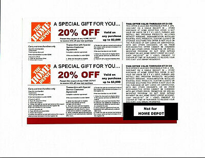 $7 • Buy (2) 20% OFF HOME DEPOT Competitors Coupon At Lowe's Expires---- 07/31/20
