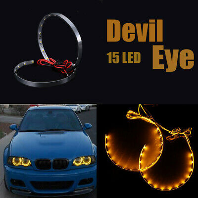 $4.99 • Buy Pair Orange LED Lights Devil Eyes Demon Eye Auto Headlight Projector Lens Rings