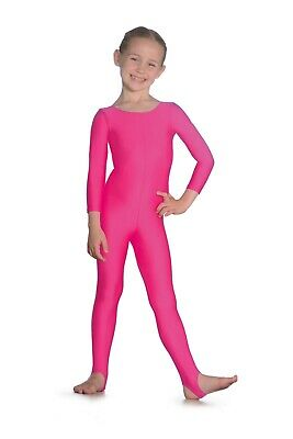 Roch Valley Long Sleeve Dance Catsuit Plain Front With Stirrups • 16£