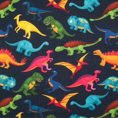 Cotton Jersey French Terry Fabric COLOURFUL DINOSAUR BLUE Knit Stretch Material • 9.75£