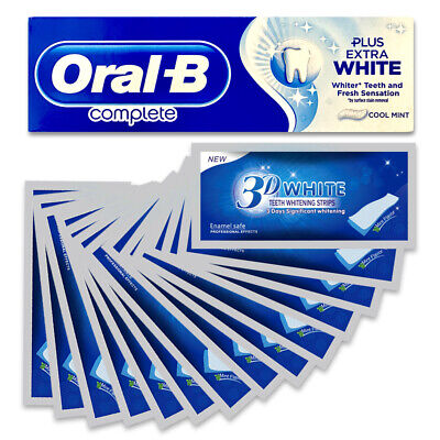 View Details 28 3d White Teeth Whitening Strips + Oral B Whitening Toothpaste 2 Weeks Supply • 17.90£