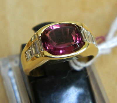 $1450 • Buy Awesome One Of Kind 18k Solid Gold Ring W/diamonds & Rare Rhodolite Gemstone
