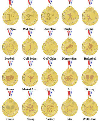 £4.99 • Buy Personalised Engraved Gold Coloured Metal Medals With Ribbon 1st Sports Trophy