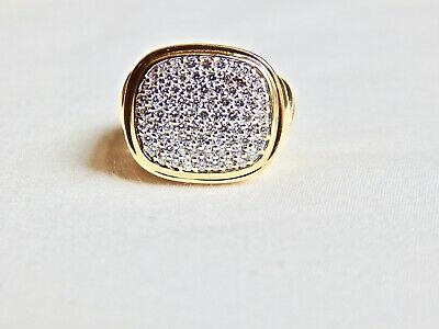 $1755 • Buy David Yurman Noblesse 18k Solid Gold Cable Ring W/pave Diamonds  Reduced !!