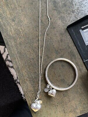 AU100 • Buy Sue Sensi Sterling Silver Lucky Heart Necklace & Bangle Unwanted Gift Never Worn