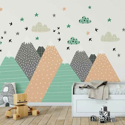 Nordic Mountain Wall Sticker Covering Kid Nursery Baby Cot Decal Decor Art Mural • 66.67£