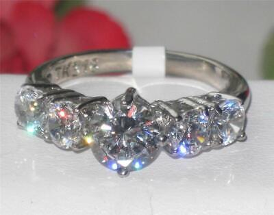 Ladies Anniversary Ring Cz 5 Stone Stainless Steel 3carat Silver Sparkling 003  • 15.99£