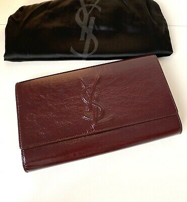 AU525 • Buy RRP $870 Authentic YSL Saint Laurent Burgundy Hand Clutch / Bag