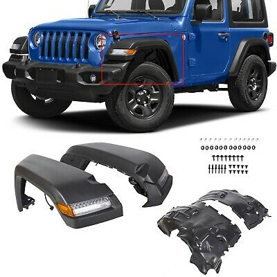 $295.95 • Buy Fits 2018 2019 2020 Jeep Wrangler JL Front Fender Flares With Linings