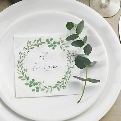 £4.95 • Buy Botanical Wreath Wedding Cocktail Napkins   Floral Hen Party Tableware X16