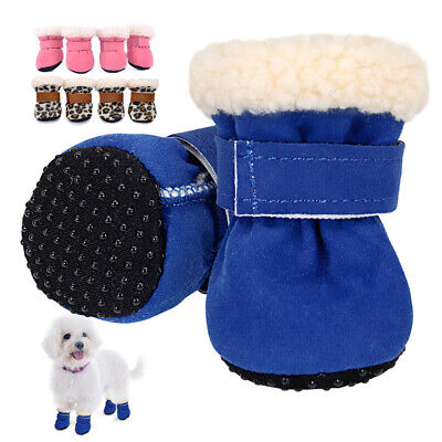 Puppy Pet Dog Doggy Shoes For Winter Snow Rain Walking Boots Warm Fleece Booties • 4.68£