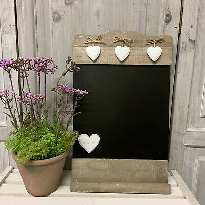 £14.95 • Buy Rustic Wood Country Kitchen Chalk Board Hanging Heart Wall French Vintage Black
