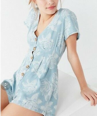 AU35 • Buy Urban Outfitters Julian Floral Chambray Romper Playsuit Size Small BNWOT