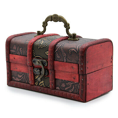 Rustic Wooden Colonial Style Trunk Treasure Chest Storage Box Large Gold Panel • 9£