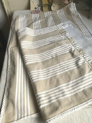 Vintage Fabric Cream Taupe Ticking Panels Cafe Curtains French Furnishings Pair  • 29£