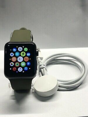$ CDN223.36 • Buy Apple Watch Series 3 38mm Space Gray Aluminium Case With Green Sport Band (GPS)