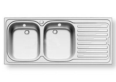 Pyramis Kitchen Sink Double Bowl Drainer Stainless Steel 1310 X 510 MM 105056801 • 120£