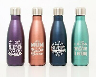 Stainless Steel Water Bottle - Insulated Metal Sport & Gym Drinks Flask MUM DAD • 11.99£