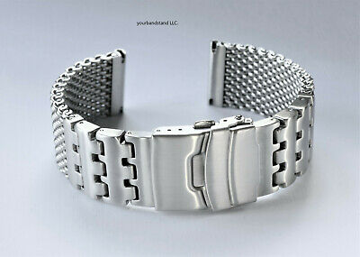 $ CDN1218.33 • Buy 22mm Heavy Duty SHARK MESH Brushed Stainless Steel Diving, Dive Watch Bracelet