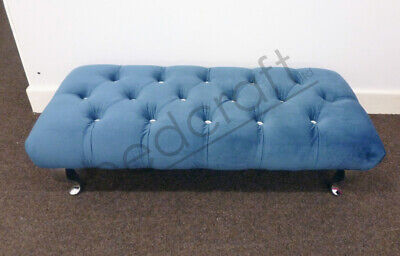 HAND UPHOLSTERED FOOTSTOOL | Customisable Bench Seat | Diamante/Fabric Buttons • 149.99£