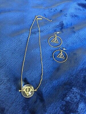 $4.99 • Buy Harry Potter Deathly Hallows Orb Necklace & Gold Tone Drop Earrings Valentine's