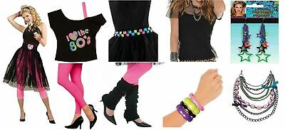 AU8.99 • Buy Ladies 80s Tutu Lace Skirt Leg Warmers Necklace Earrings Neon Belt Wig Leggings