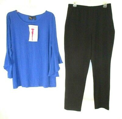 $ CDN37.43 • Buy Women With Control Pants Set Blue Shirt Large Slim Ankle A301383 Womens YN12