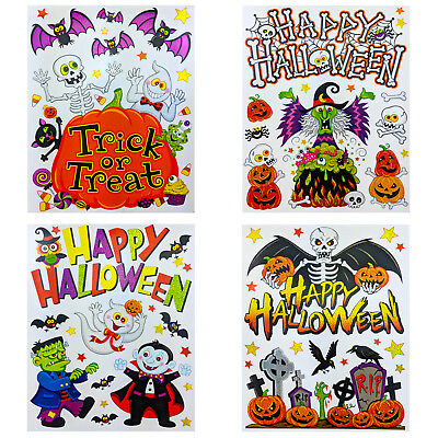 £4.79 • Buy Halloween Window Cling Stickers Reusable Self Adhesive Decoration Witch Pumpkin