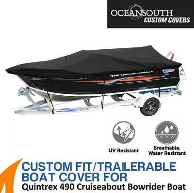 AU379.99 • Buy Oceansouth Custom Fit Boat Cover For Quintrex 490 Cruiseabout Bowrider Boat