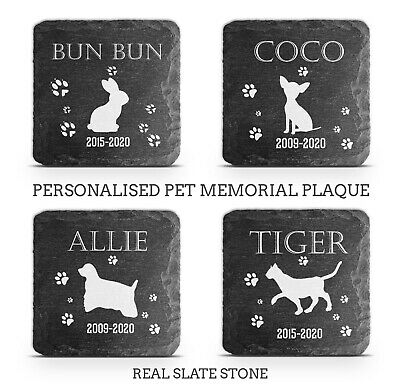 £8.45 • Buy Pet Memorial Plaque Cat Dog Pig Slate Stone Paw Print Grave Marker Personalised