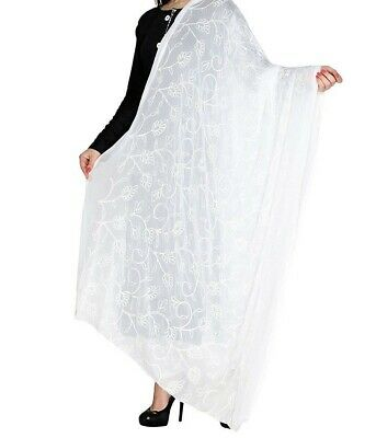 £8.99 • Buy Dupatta Women Indian White Stole Chiffon Scarf Embroidered Party Wear Shawl