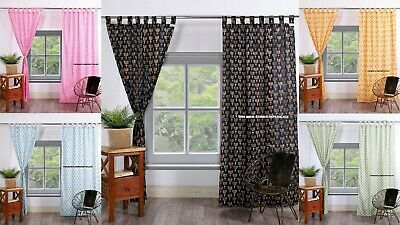 Indian Hand Block Print Curtain Tab Top Tapestry Curtains Window Boho Valance • 26.99£