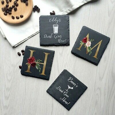 Personalised Coaster Slate Stone Gift For Drinks Custom Printed Name Floral 2020 • 5.45£