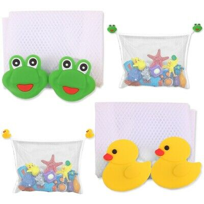 2x KIDS BATH TOY HANGING POUCH Tidy Bathroom Organiser Shower Tile Suction Cups • 5.10£