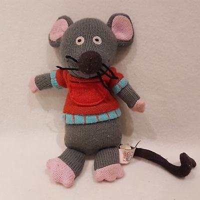 Grey Mouse Knitted Soft Toy Plush By Latitude Enfants SALE Toys Hug • 12.28£
