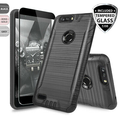 $7.95 • Buy For ZTE Blade Z MAX Shockproof Armor Brushed Phone Case+Black Tempered Glass