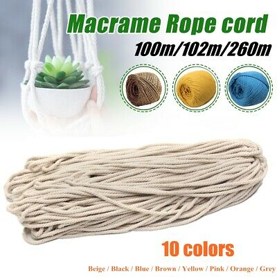 AU14.35 • Buy 3/5mm 100M/102M/260M Macrame Rope Cotton String Twisted Cord Artisans Hand Craft
