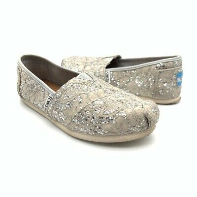 $9.99 • Buy Toms Womens Loafer Flat Shoes Metallic Sequined Slip Ons 5