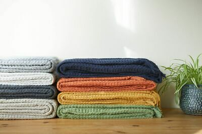 100% Cotton Waffle Style Woven Sofa / Bed Throw In 6 Sizes + Giant Jumbo Size • 14.99£