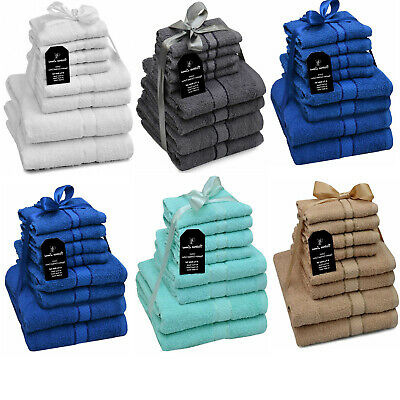 8 Piece Soft Cotton Towels For Bath,Hand,Face Bale Gift Set Of Luxury Bathroom • 11.99£