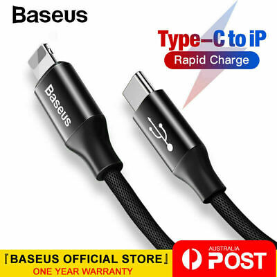 AU9.95 • Buy Baseus PD 2A 18W Fast Charging Type C To Lightning Cable For IPhone XS X 8 8P 11