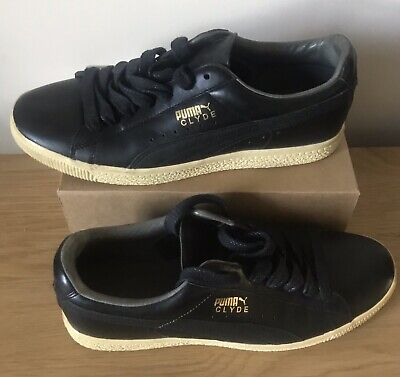 Black Leather Puma Clyde  | UK:8 | US:9| EUR:42 | Pre Owned • 55£